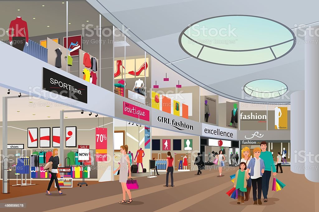 Royalty Free Shopping Mall Clip Art Vector Images