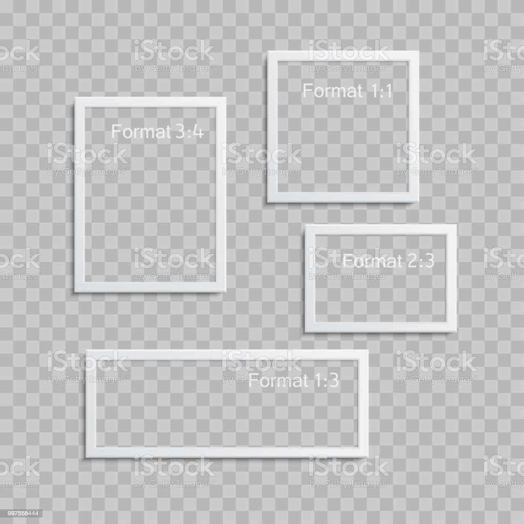 Größe Bilderrahmen Photo Frames With Realistic Drop Shadow Vector Effect Isolated The
