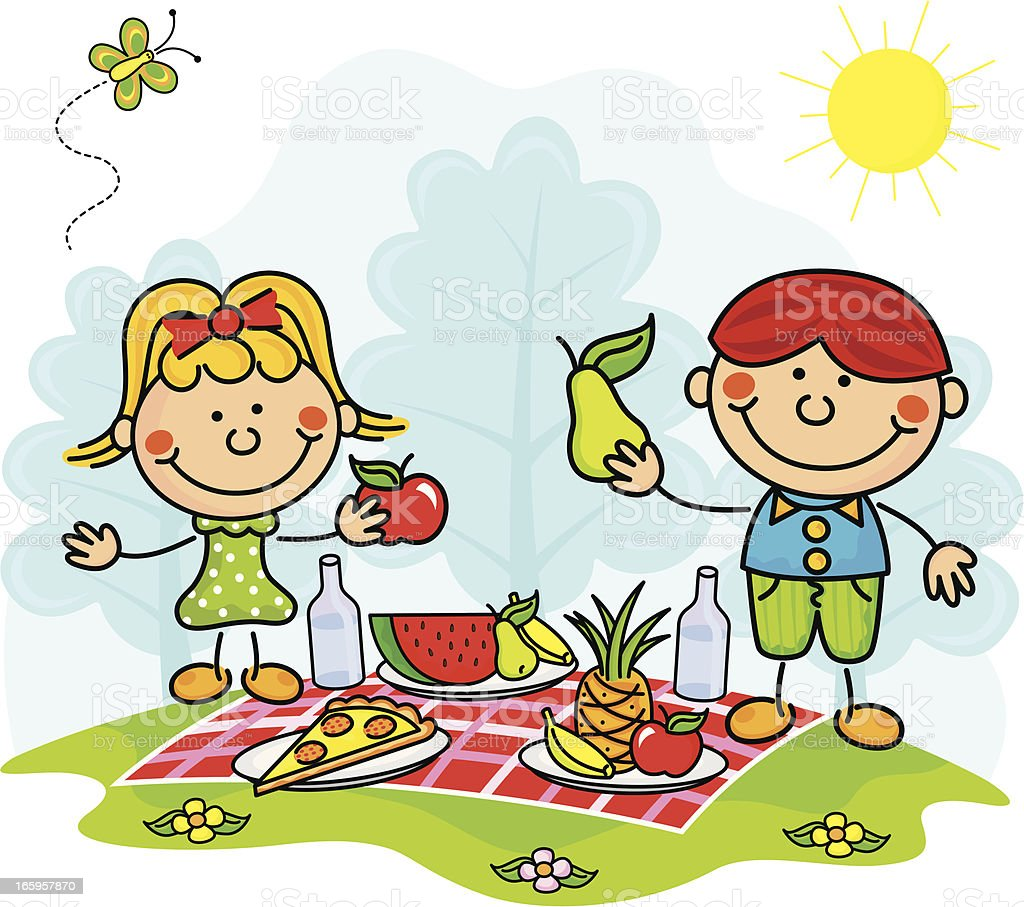 Kinder Picknick Picnic Kids Stock Vector Art And More Images Of Cartoon