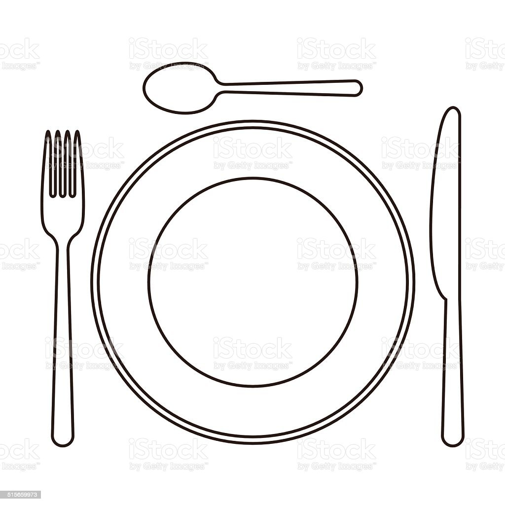 Tischgedeck Clipart Place Setting With Plate Knife Spoon And Fork Stock Vector
