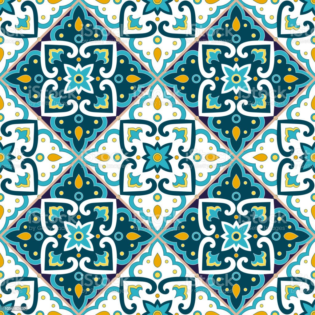 Fliesen Mosaik Motive Portuguese Tile Pattern Seamless Vector Portugal Azulejos Ornaments
