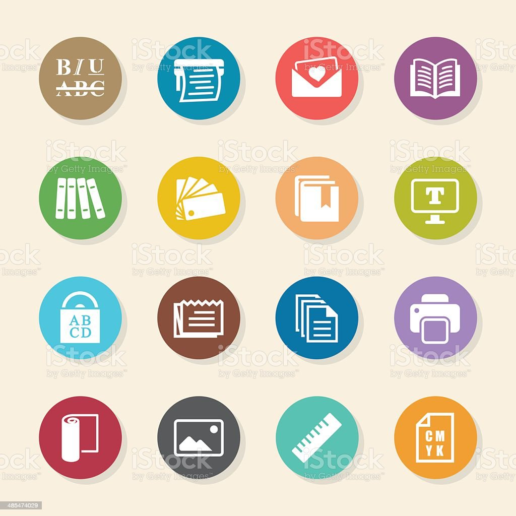 Print and publishing icons color circle series royalty free stock vector art