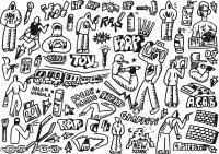 Hiphop Rap Graffitikritzeleien Set Stock Vektor Art und ...