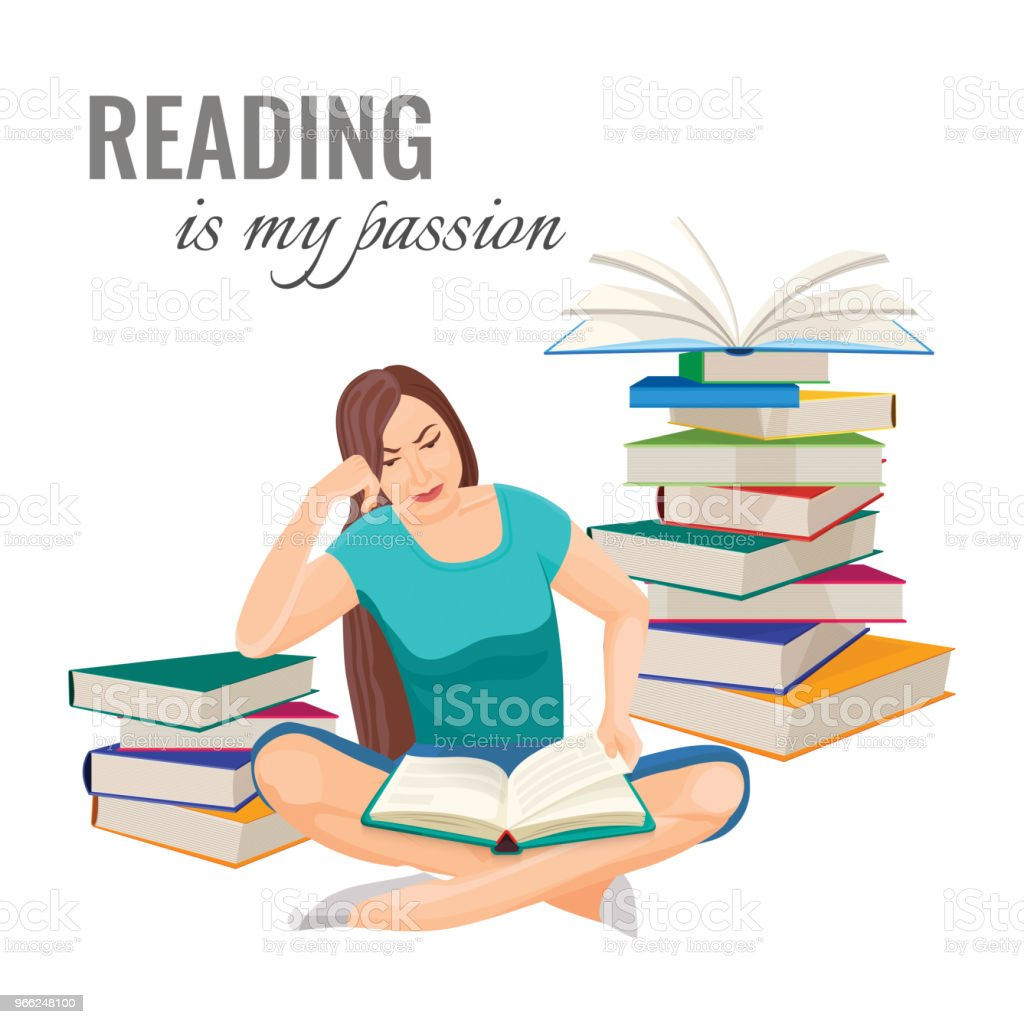 Entre Montones De Libros Reading My Passion Poster With Woman Who Reads On Floor Among Book