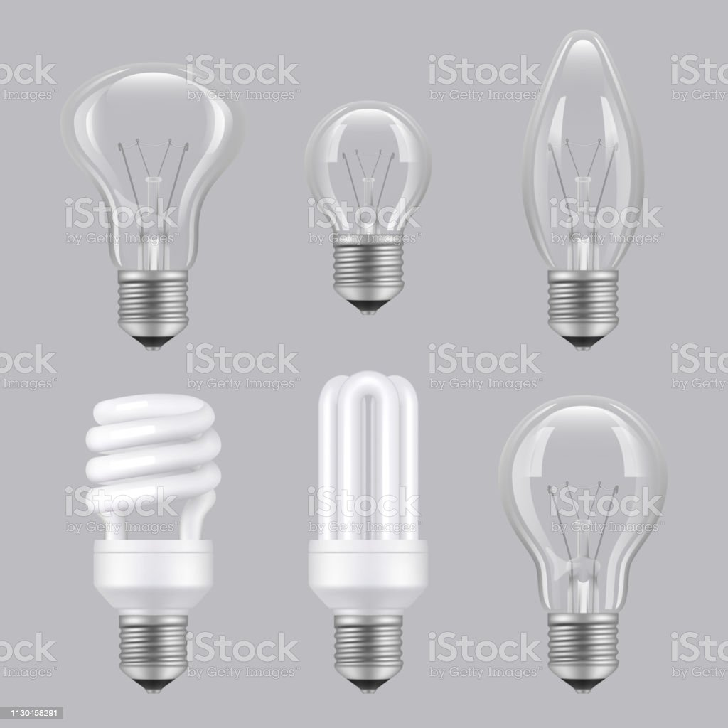 Glass Lamp Vector Realistic Bulbs Lighting Electricity Glass Transparent Lamps