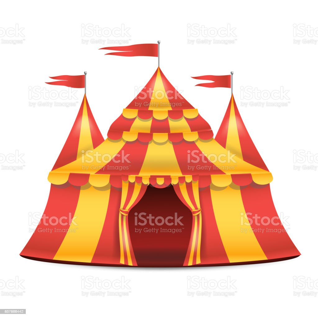 Tenda Da Circo Realistic Circus Tent Vector Red And Yellow Stripes