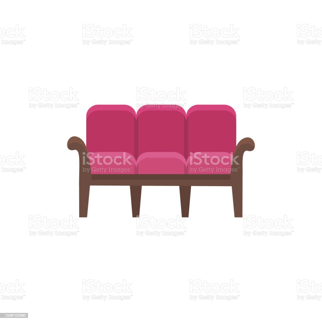 Sofa Vector Free Red 3 Seaters Sofa Vector Illustration Flat Icon Of Settee Front