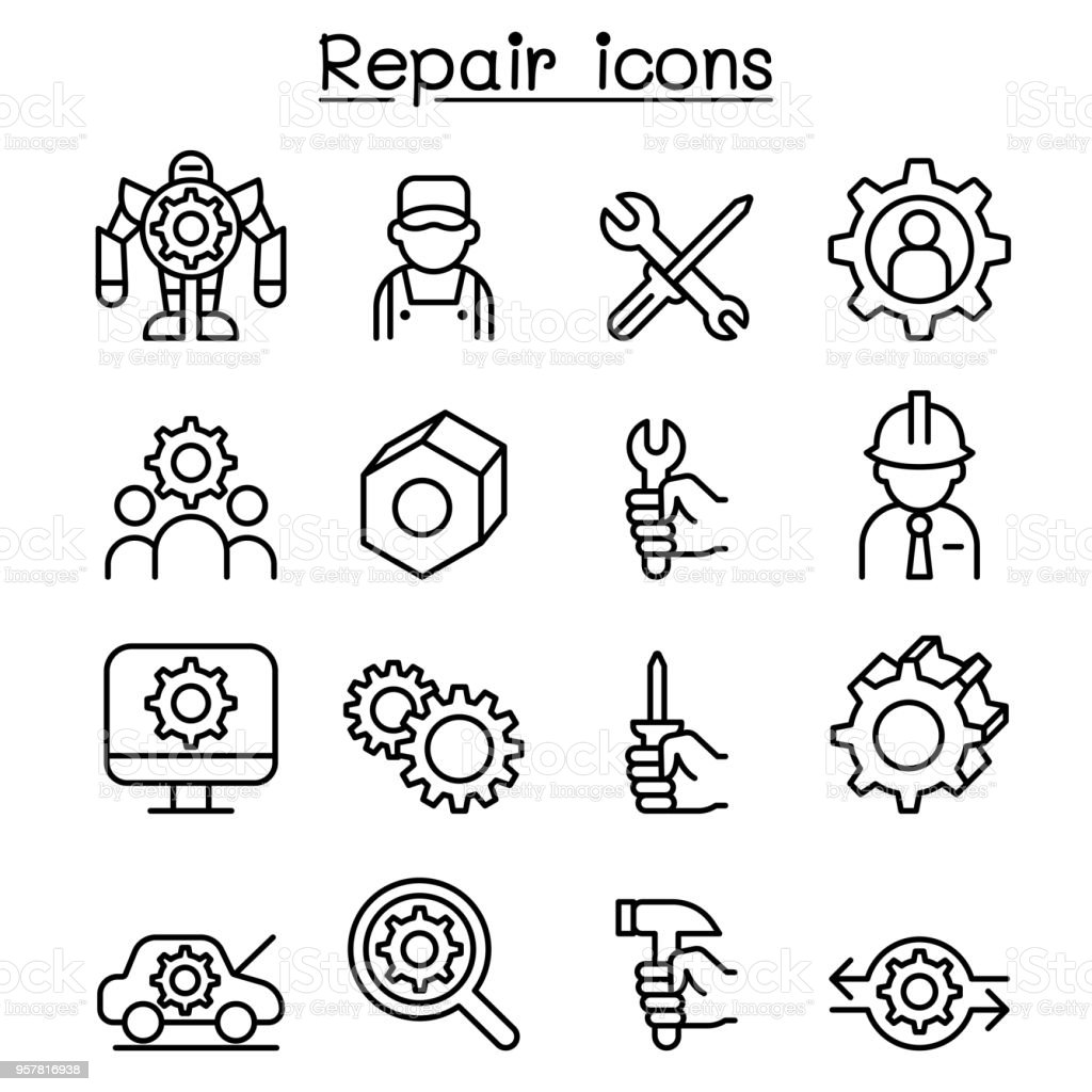 Repair Fixing Repair Fixing Maintenance Icon Set In Thin Line Style Stock Vector