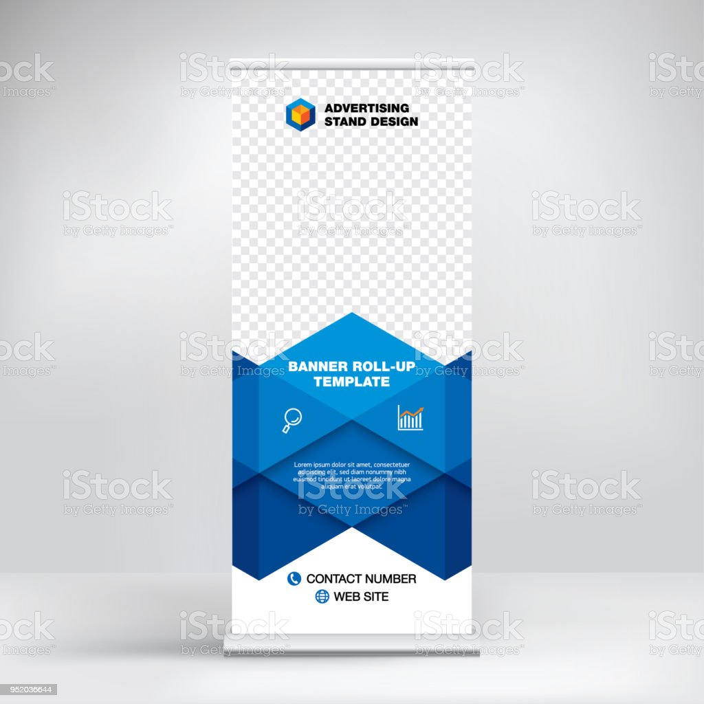 Rollup Rollup Banner Template Advertising Stand Design Layout For Seminars Presentations Conferences Promotions Placement Of Photos And Text Creative Blue