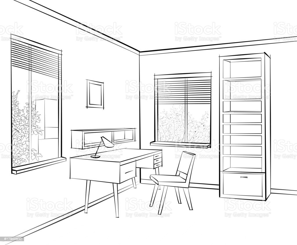 3d Tekening Maken Woonkamer Room Interior Sketch Workplace Home Office Furniture Stock