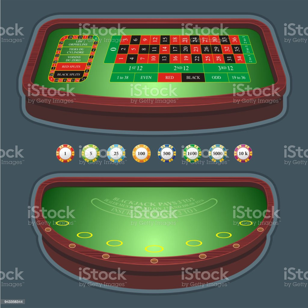 Blackjack Mesa Casino Table With Chips And Cards On White Background Vector