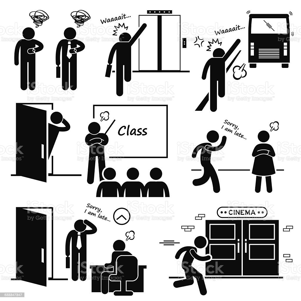 Sedia Job Video Running Late And Rushing Stick Figure Pictogram Stock