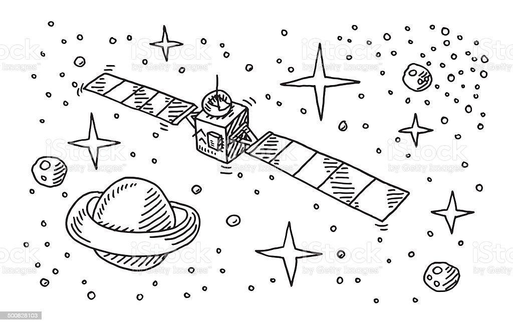 Cute Alien Wallpaper Iphone Satellite Space Stars Planet Drawing Stock Vector Art