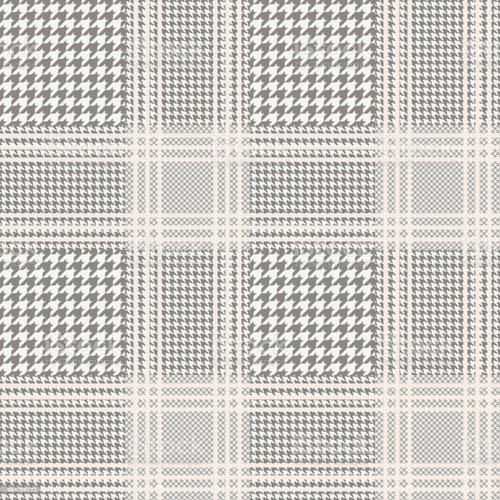 Plaid Taupe Seamless Glen Plaid Pattern In Taupe And Beige With Pale Beige