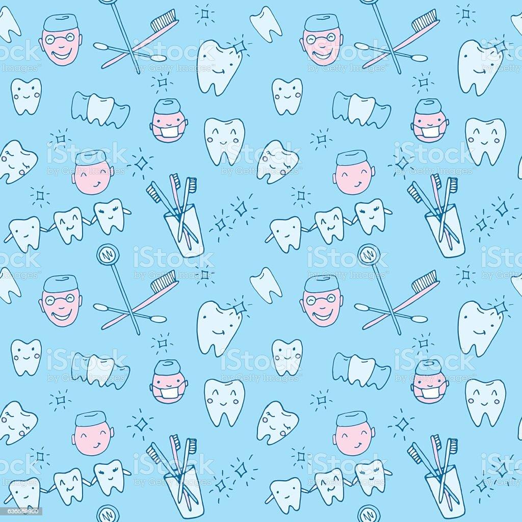 Cute Dental Wallpaper Seamless Pattern Kawaii Dentist With Teeth Toothbrush