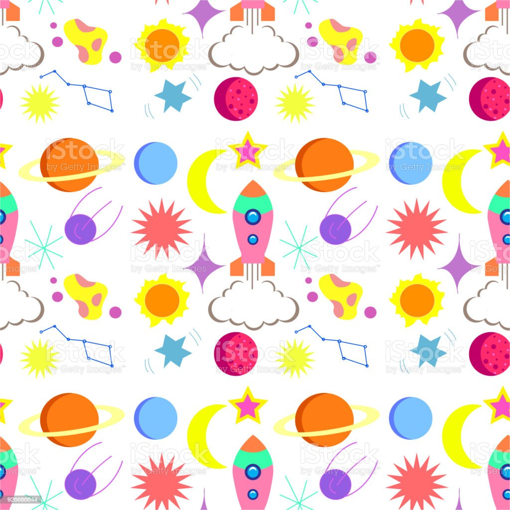 Planets Wall Art Seamless Repeat Patternchildrens Space Rocket Space Planets Stars On White Background Vector Illustration Modern And Original Textile Wrapping Paper