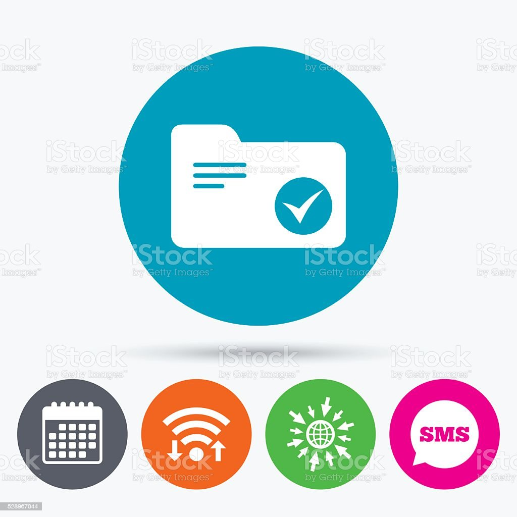 Classeur Document Wifi Sms And Calendar Icons Select Document Folder Sign Accounting