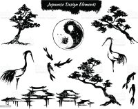 Set Of Asian Design Elements Stock Vector Art & More ...