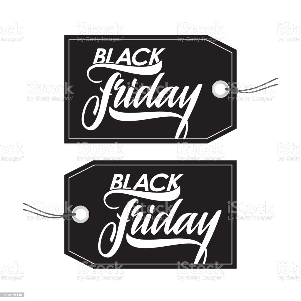 Black Friday In Germany Set Of Black Friday Sale Tags With Hand Type Lettering Stock