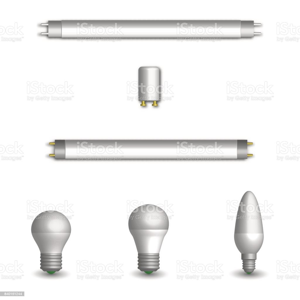 Fluorescent Bulbs Set Of Various Photorealistic Light Emitting Diode And Fluorescent