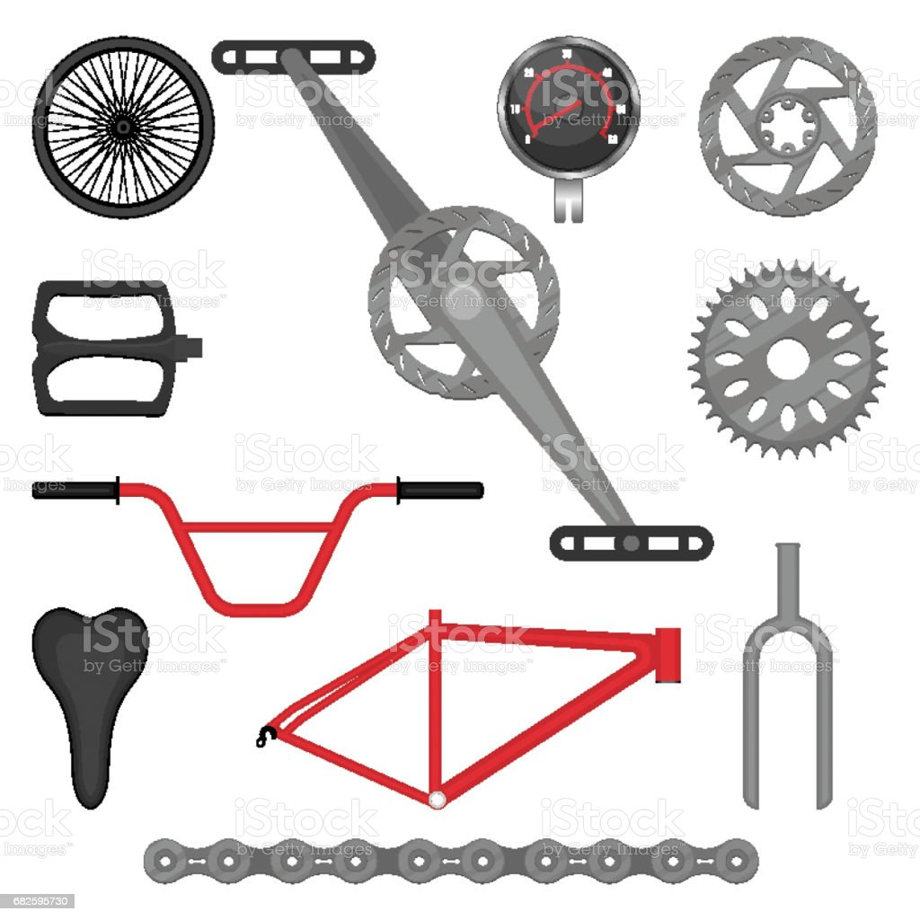 Bmx Parts Set Of Parts For Bmx Bike Offroad Sport Bicycle Vector Stock