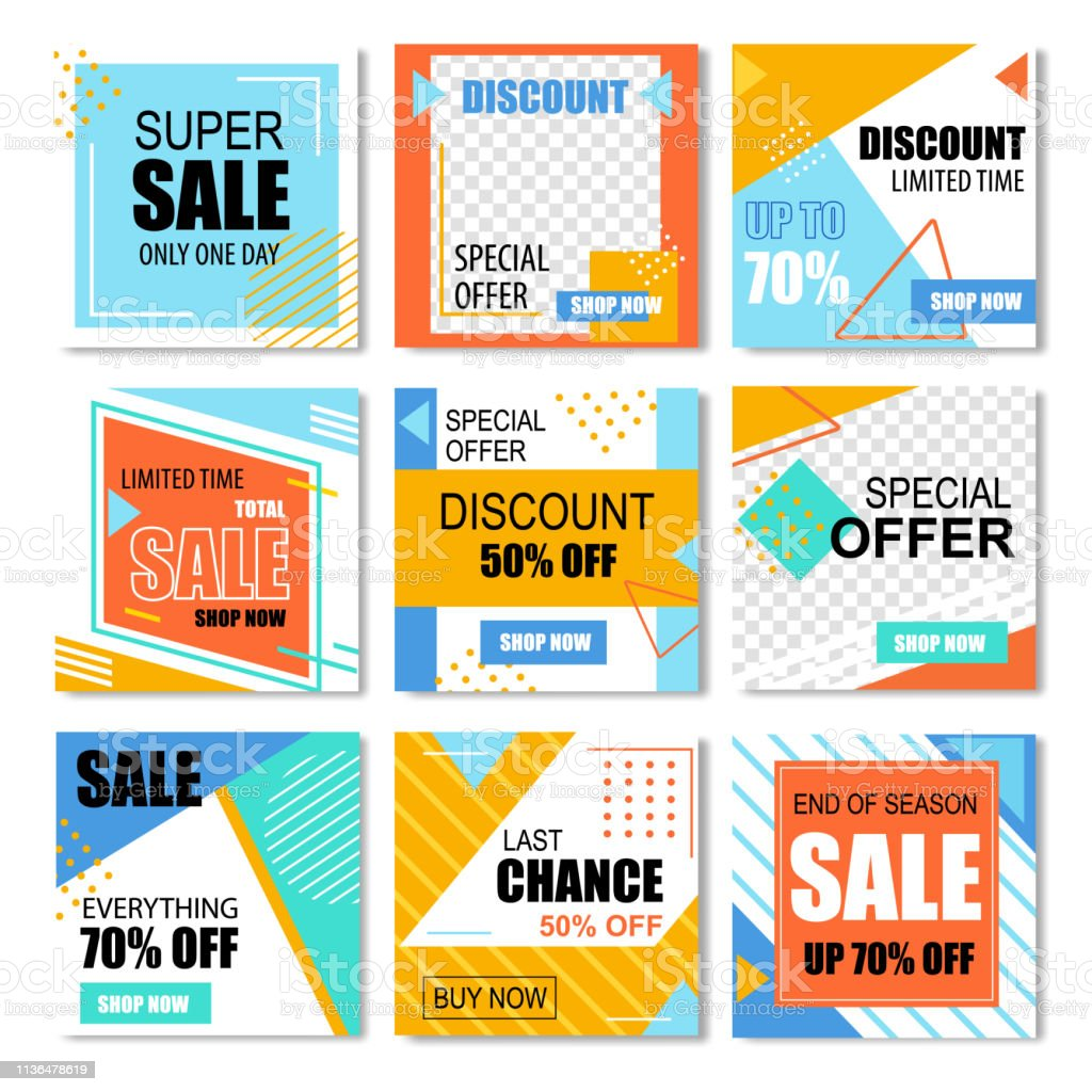 Set Of Special Discount Posters Social Media Stock Illustration Download Image Now Istock