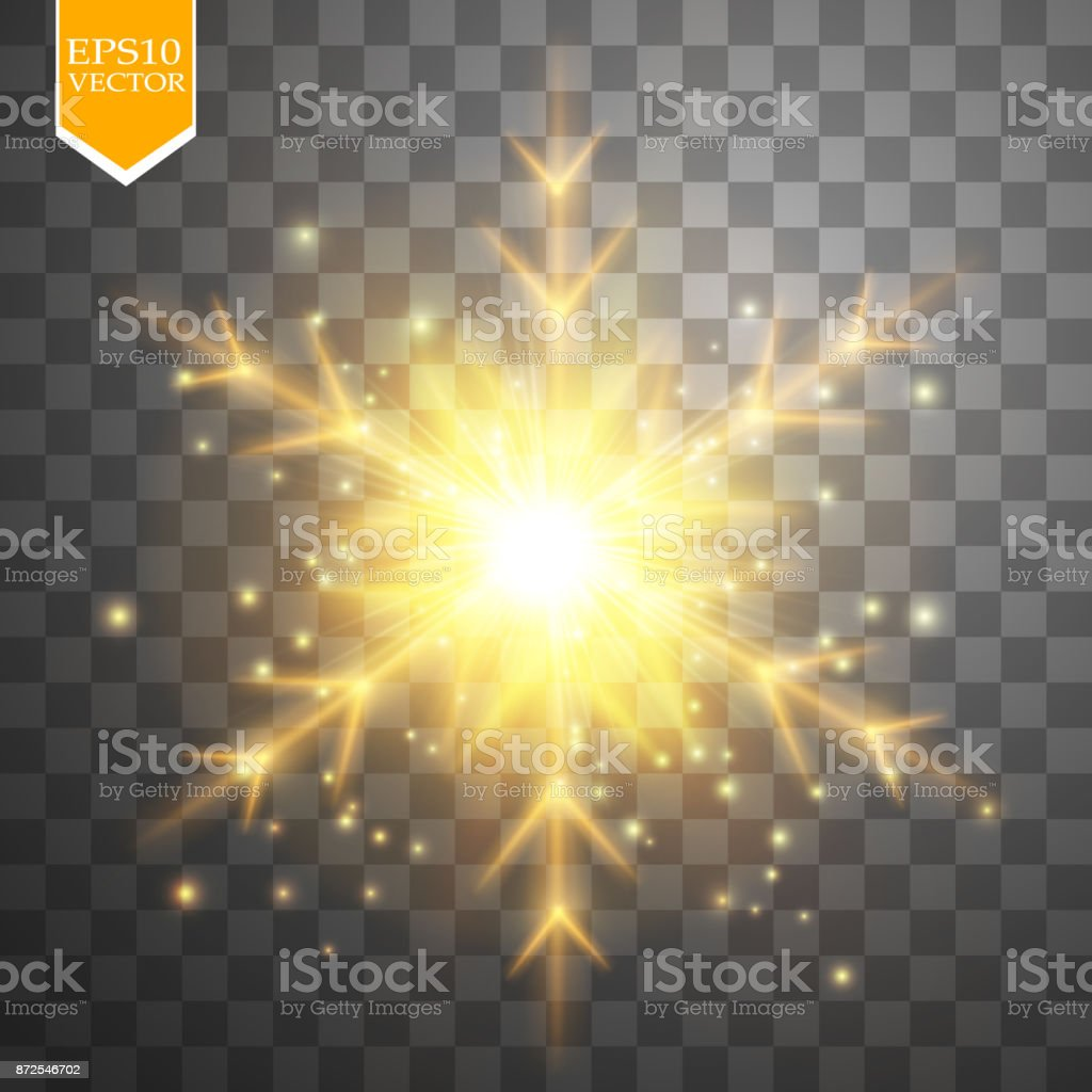 Shine Gold Snowflake With Glitter Isolated On Transparent Background Christmas Decoration With Shining Sparkling Light Effect Vector Stock Illustration Download Image Now Istock