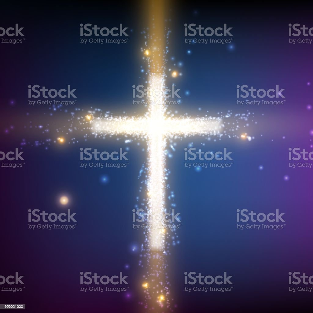 Bilder Mit Hintergrundbeleuchtung Shining Cross On Colorful Background With Backlight And Glowing