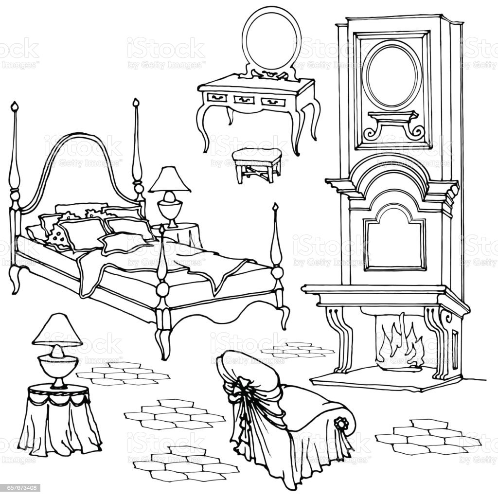 Dibujos De Muebles Para Colorear Sketch Of Furniture For Classic Old Bedroom With Fireplace