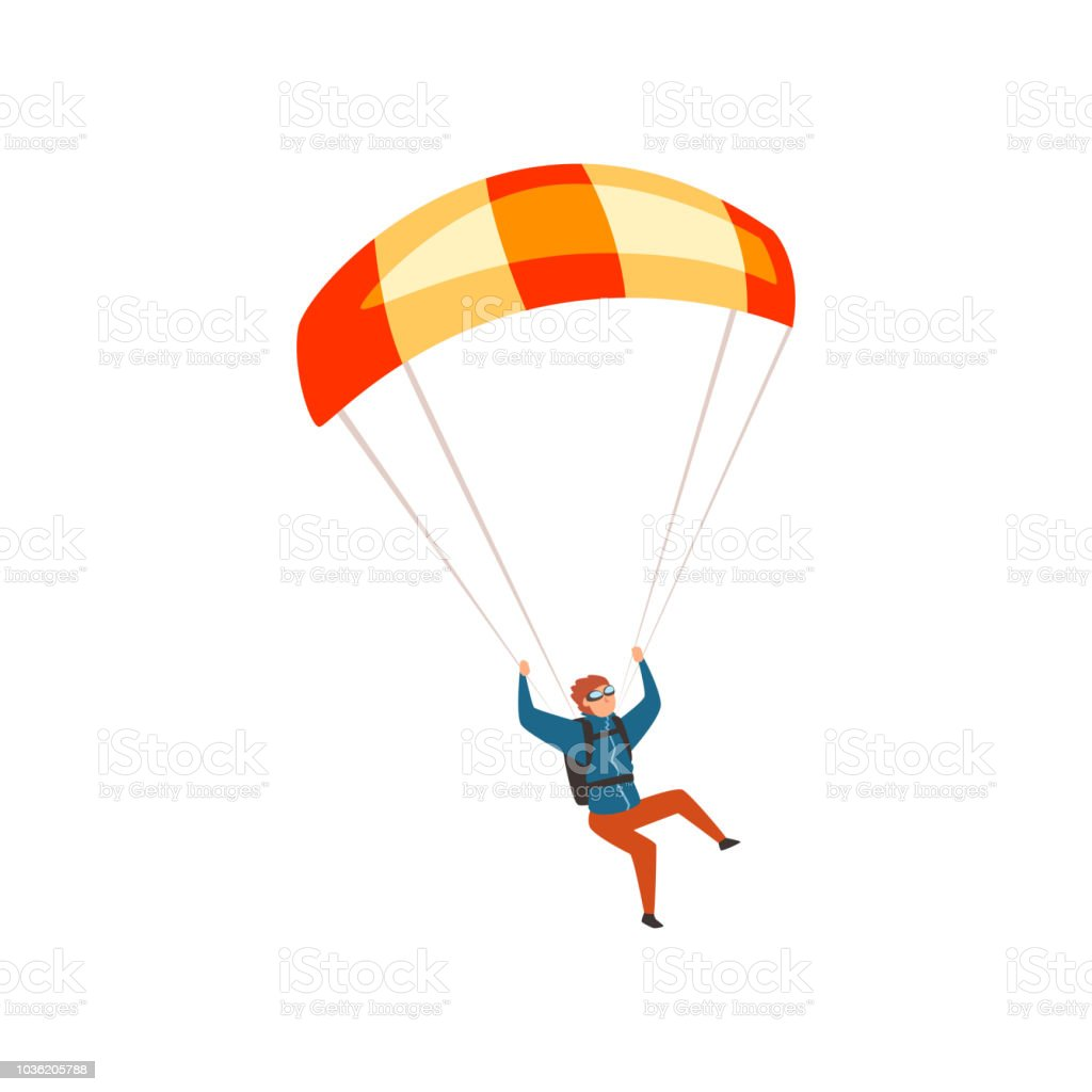 Sport Flying Skydiver Flying With A Parachute Parachuting Sport And Leisure