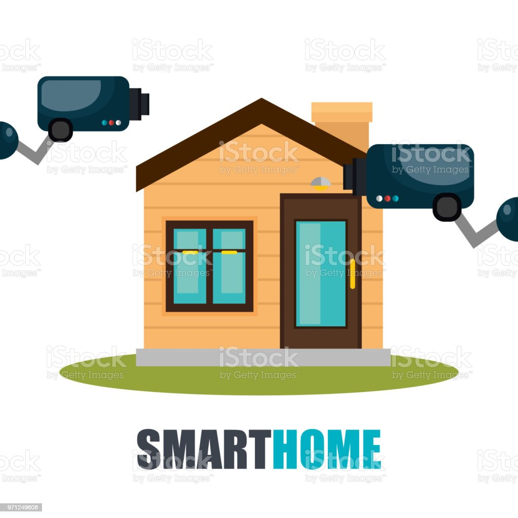 Cctv Home Smart Home Technology With Cctv Camera Stock Vector Art More