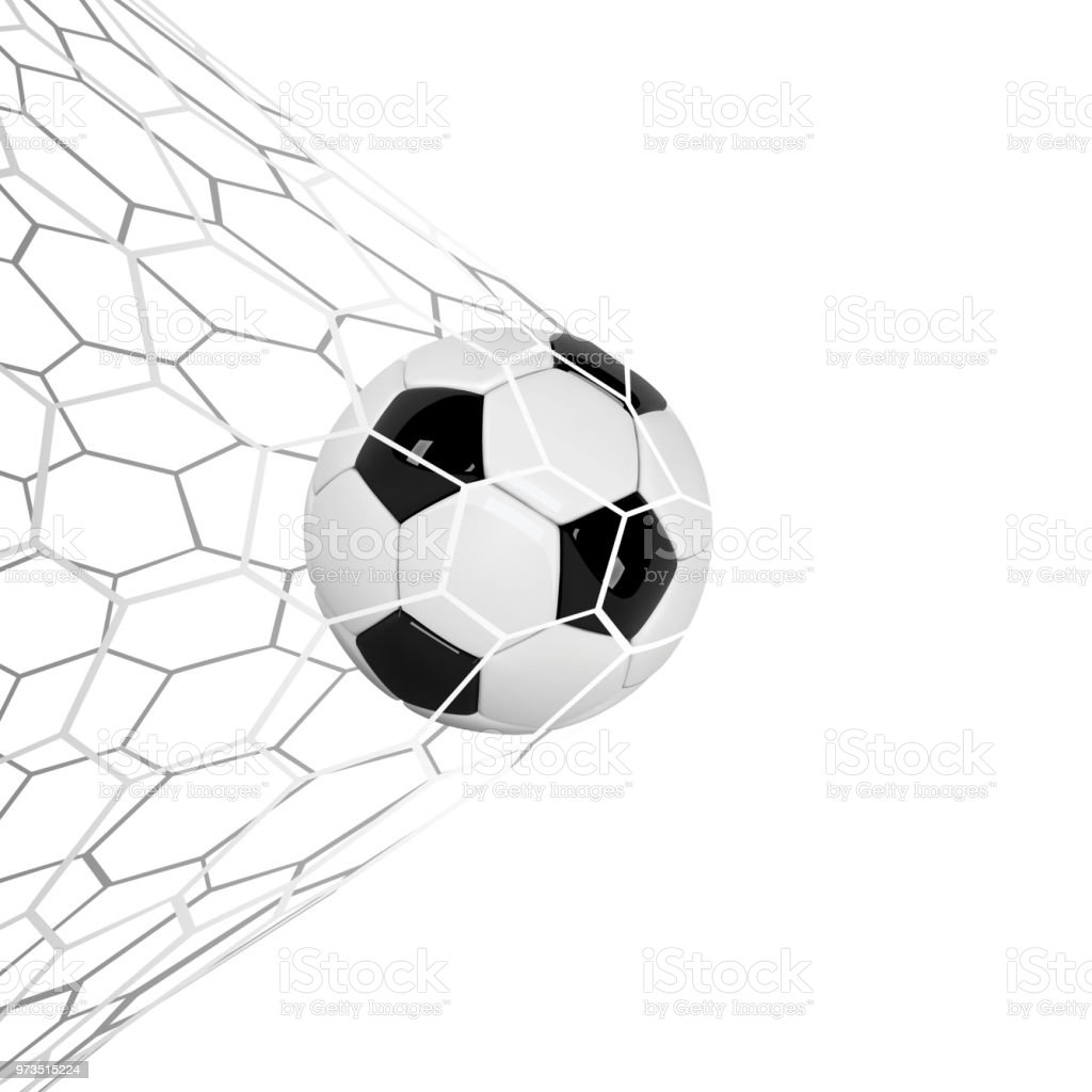 3d Net Soccer Or Football 3d Ball Isolated On White Background Football