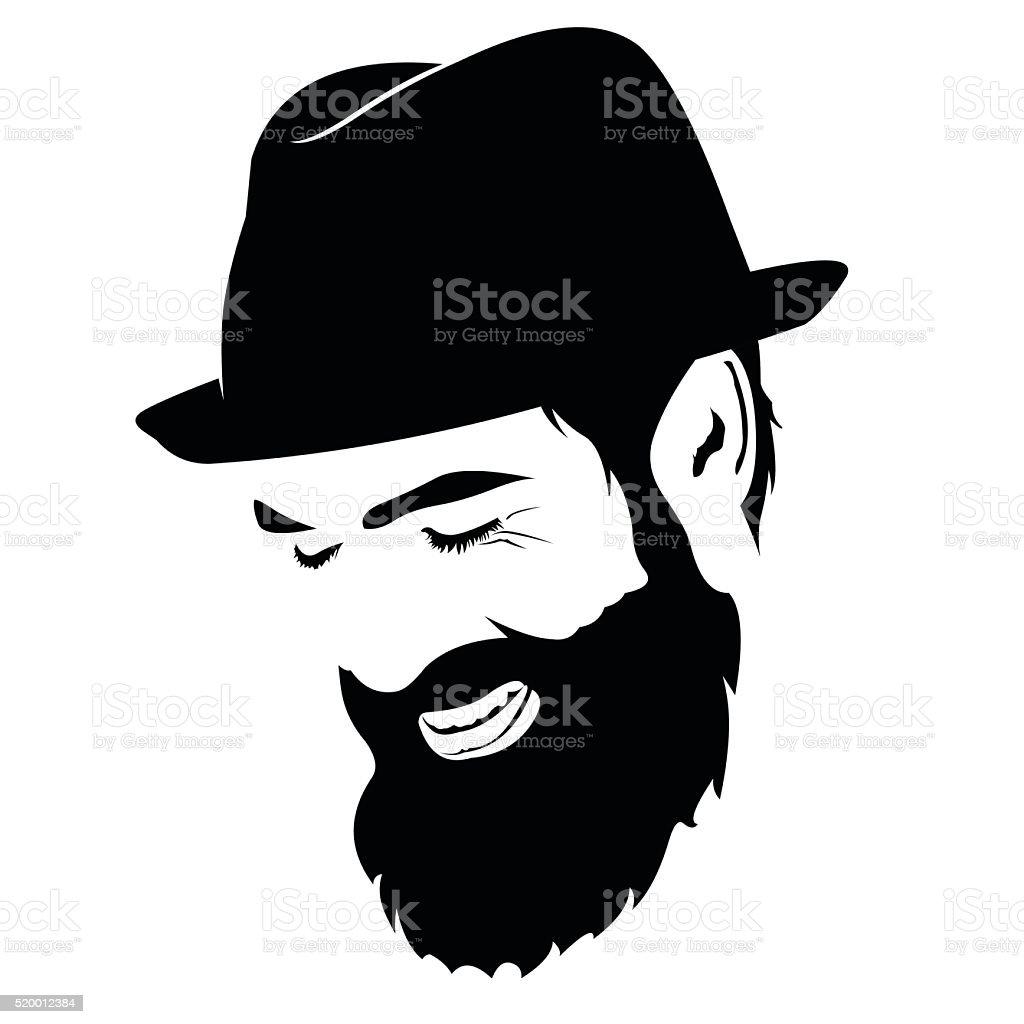 3d Khanda Wallpaper Spontaneous Laughing Bearded Man Face Clip Art Stock