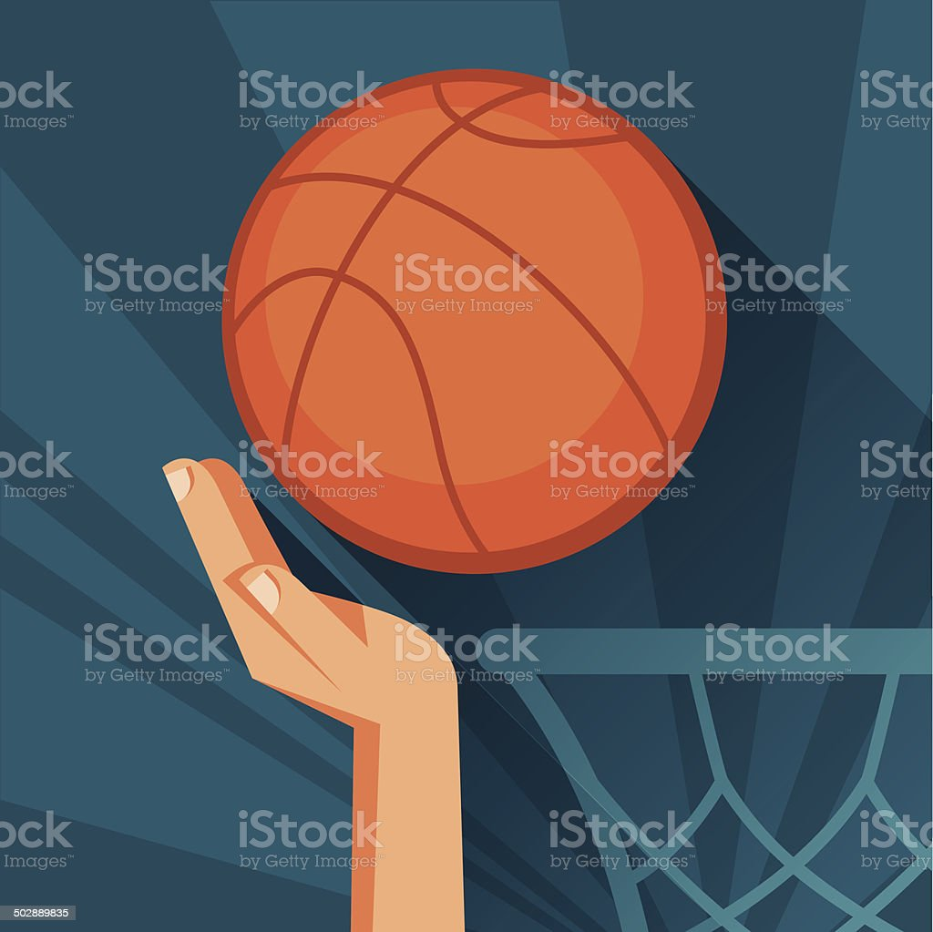 Basketball Ball Sports Illustration Hand Shot Basketball Ball Through Hoop Stok