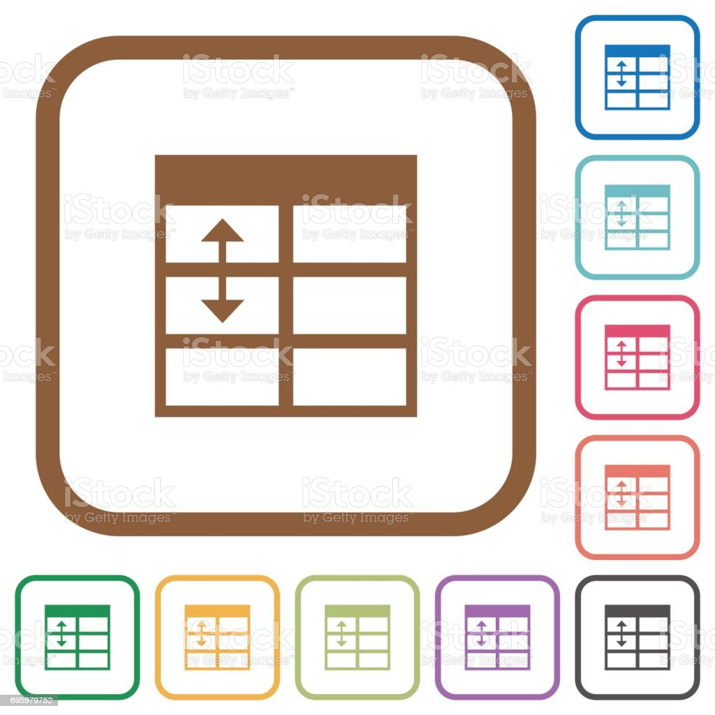 Spreadsheet adjust table row height simple icons royalty free stock vector art