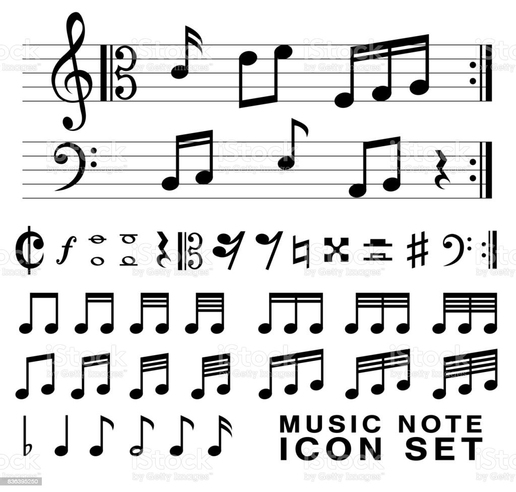 Music Notation Notes Standard Music Notes Symbol Set Vector Eps10 Stock Vector