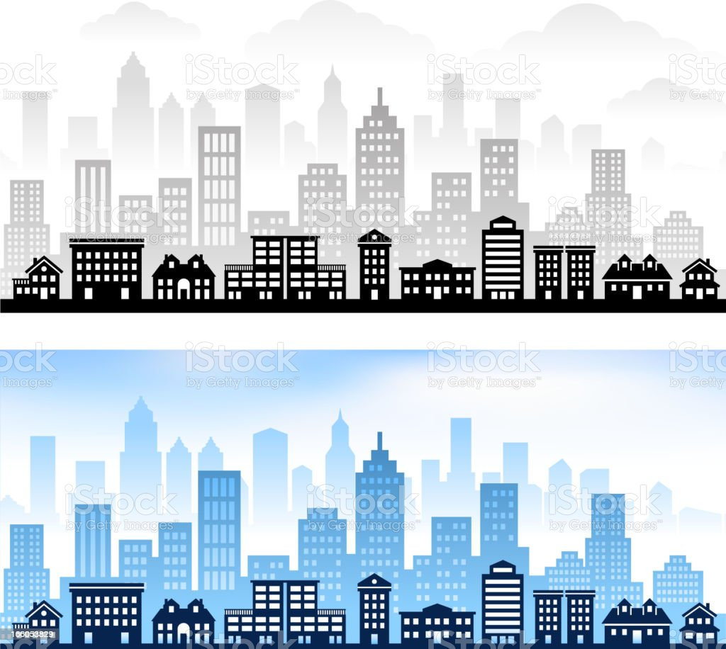 Graphic Stock Free Trial Suburban Community With City Skyline Panoramic Royalty