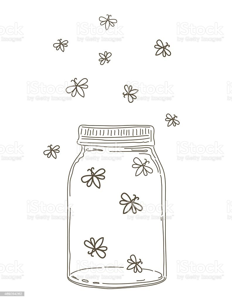 Firefly Jar Art Summer Hand Drawn Mason Jars With Fireflies Stock Vector Art