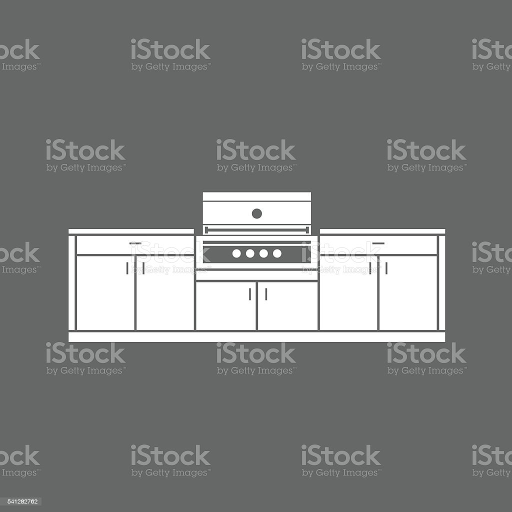 Summer Kitchen Design Plans Summer Kitchen Cabinets With Grill Illustration Stock Vector Art