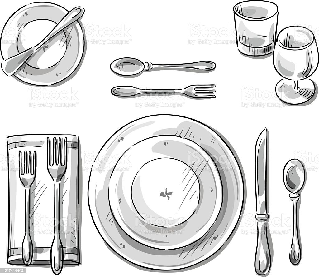 Tischgedeck Clipart Table Setting Vector Sketch Stock Vector Art And More Images