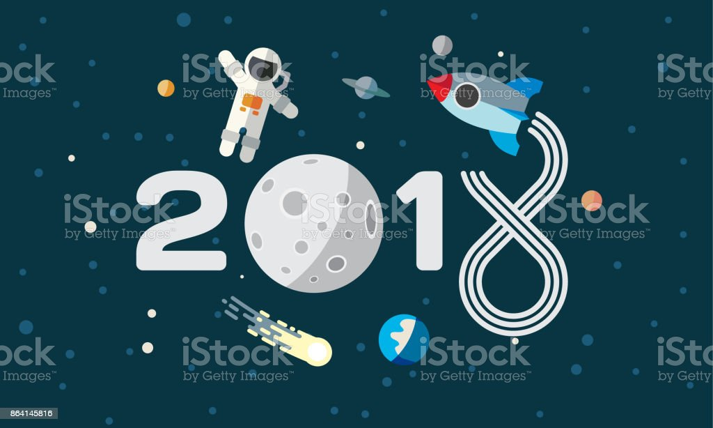 Maan Kalender The Astronaut And Rocket On The Moon Background Flat Space