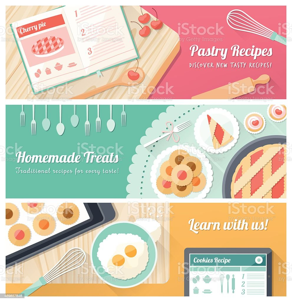 kitchen table overhead kitchen table cooking school Three graphic art banners advertising pastry cooking classes vector art illustration
