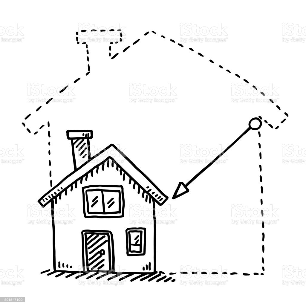 Image Maison Dessin Hand Drawn Vector Drawing Of A Tiny House Downsizing Concept