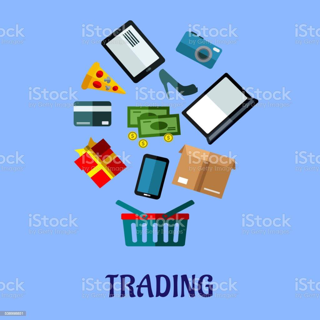 Trading flat poster design for online shopping royalty free stock vector art