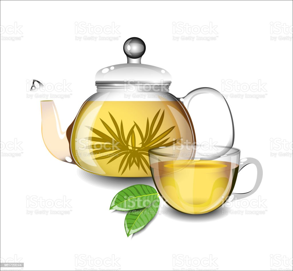 Teapot With Cup Transparent Teapot And A Cup Of Green Tea
