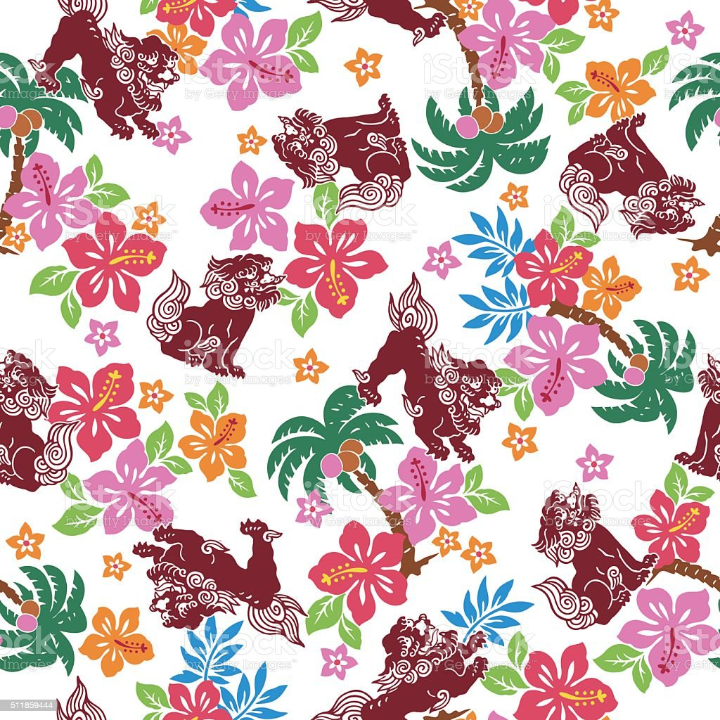 Orient Muster I Drew Tropical Flower Orient Lion For Designing It