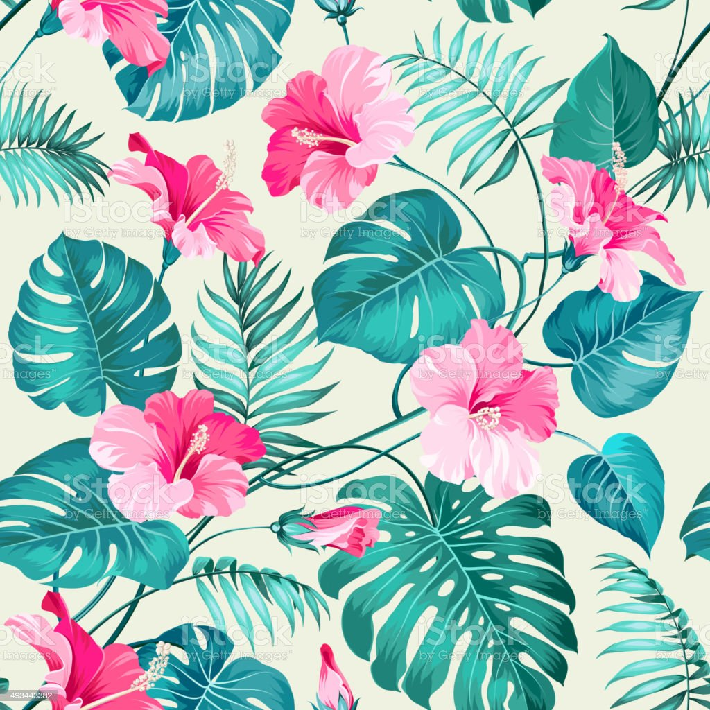 Tropical Artwork Tropical Flower Pattern Stock Vector Art And More Images Of