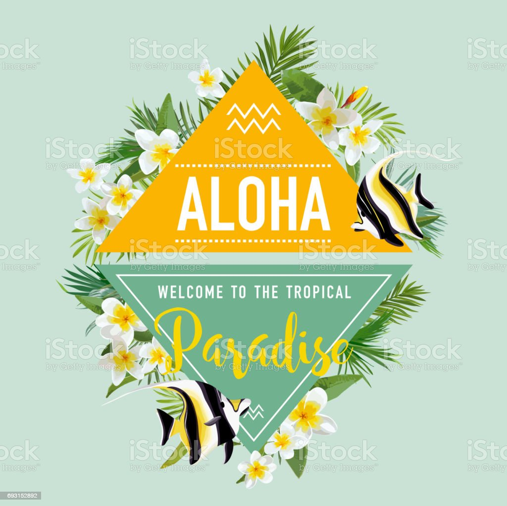 Tropical Flowers And Exotic Fish Background Summer Design