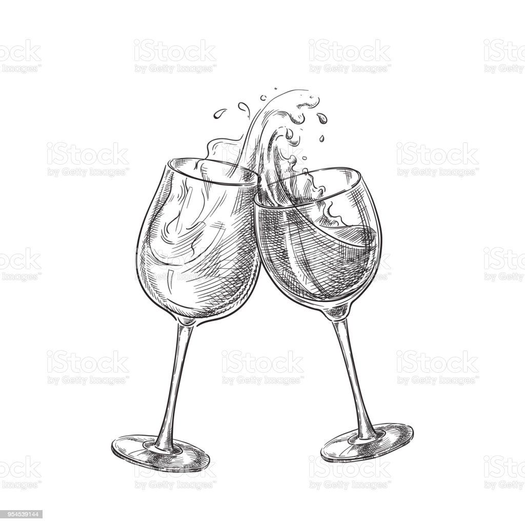 Wine Glasses Two Wine Glasses With Splash Drinks Sketch Vector Illustration Hand Drawn Label Design Elements Stock Vector Art More Images Of Alcohol