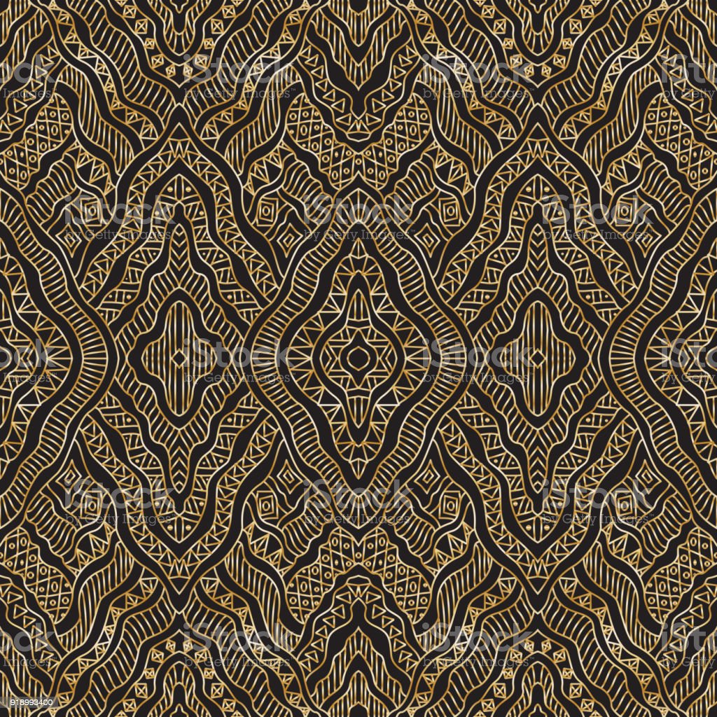 Metallic Gold Wallpaper Vector Abstract Seamless Pattern From Metallic Gold Hand Drawn Curly